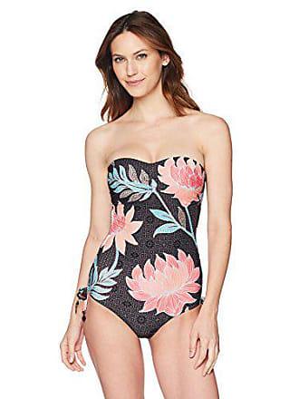 3b4de605e69 Seafolly Womens Bandeau C/D-Cup One Piece Swimsuit, Bali Hai Black,