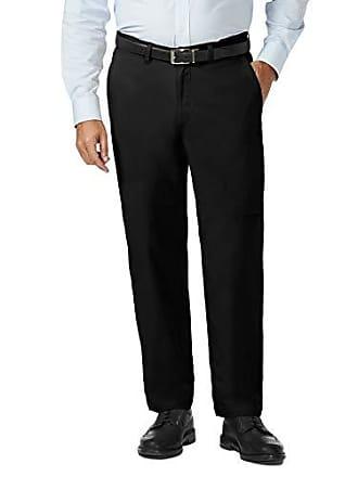 Haggar Mens Big and Tall Coastal Comfort Classic Fit Superflex Flat Front Pant, Black, 56Wx32L
