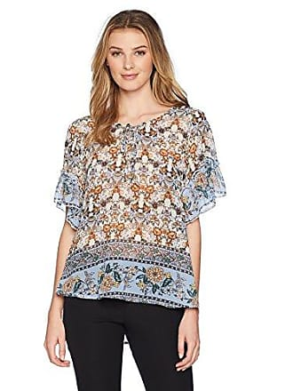 Oneworld Womens Ruffle Short Sleeve Woven Peasant Top, True Expression/miro Small