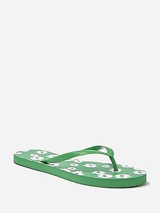 Forever 21 Forever 21 Daisy Print Thong Flip-Flops Green/white