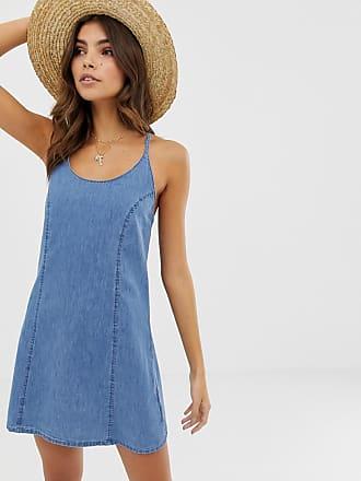 Asos Denim - Vestito estivo di jeans allacciato dietro blu lavaggio medio