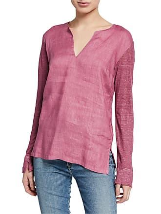 120% Lino V-Neck Long-Sleeve Jersey-Back Top