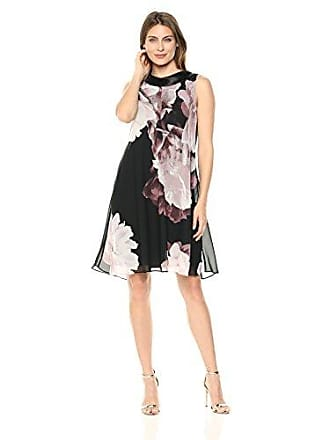 S.L. Fashions Womens Sleeveless Printed Asymmetric Chiffon Overlay Dress, Black/Floral, 6