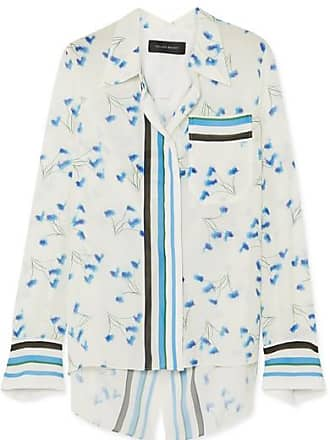 Roland Mouret Open-back Printed Crepon Shirt - Blue