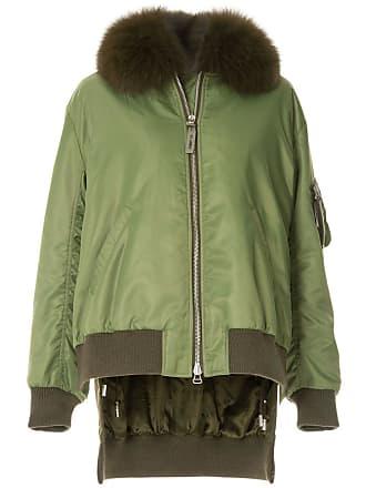 Yves Salomon - Army fox fur trim bomber jacket - Green