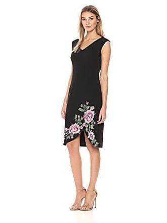 Ivanka Trump Womens Scuba Crepe Cap Sleeve Emroidered Compression Dress, Black, 2