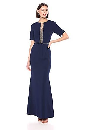 Adrianna Papell Womens Beaded Crepe Mermaid Gown, Light Navy, 6