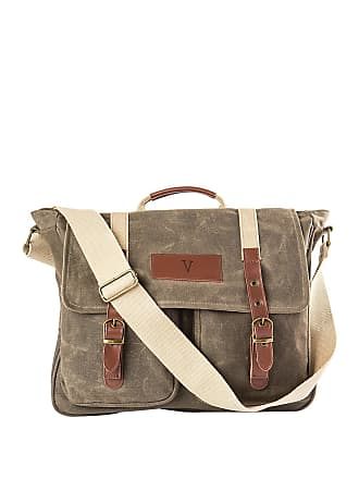 Cathy's Concepts Monogrammed V Olive Green Waxed Canvas Messenger Bag