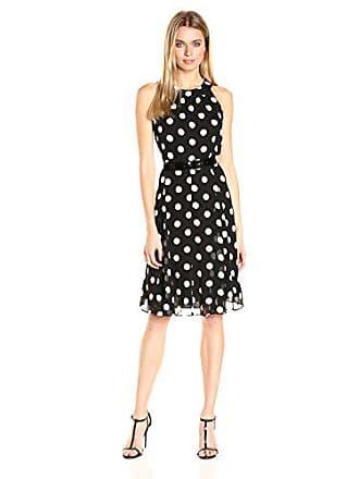 Tommy Hilfiger Womens Polka Dot Chiffon Dress, Black/Ivory 12