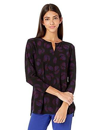 Anne Klein Womens Long Sleeve Knit Tunic, Anne Black/Gauguin Combo, XS