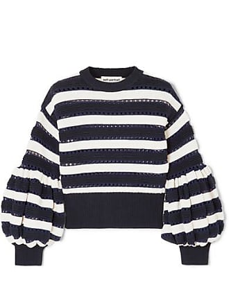 c8cbac536dbe Self Portrait Striped Open-knit Cotton And Wool-blend Sweater - Navy