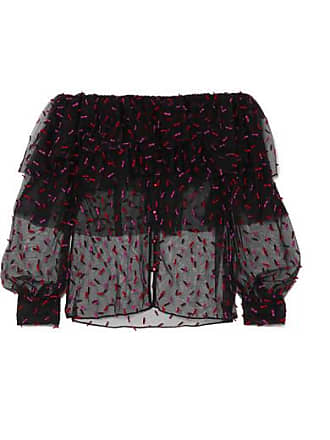 6a02ef9c2d Rodarte Off-the-shoulder Ruffled Appliquéd Tulle Top - Black
