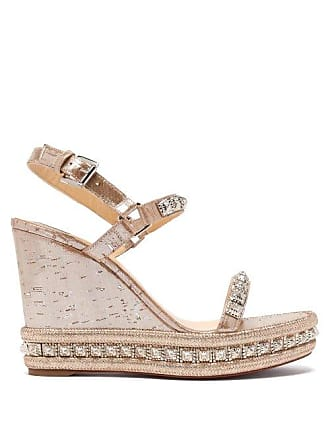 f0ebbcb6c1 Christian Louboutin Pyradiams 110 Studded Cork Wedge Sandals - Womens -  Silver Gold