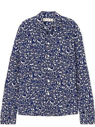 2d6587d65bdeec Marni Floral-print Silk Crepe De Chine Shirt - Blue