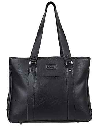 Kenneth Cole Reaction Kenneth Cole Reaction Luggage Hit Womens Pebbled Faux Leather Triple Compartment 15 Laptop Business Tote, Black
