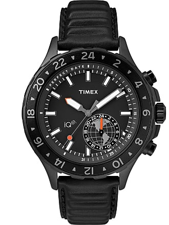 Timex Watch Mens Iq+ Move Multi-Time 43MM Leather Strap Black Item Tw2R39900F5