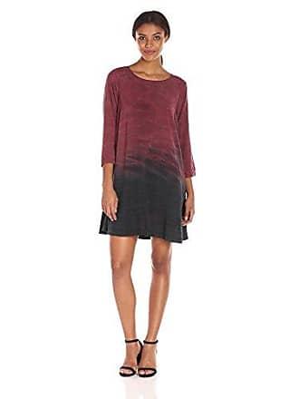 Michael Stars Womens Haze Print 3/4 Sleeve Swing Dress, Pinot S