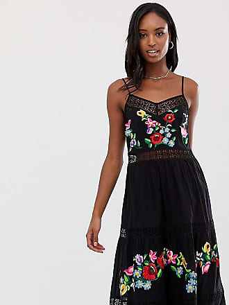 Asos Tall ASOS DESIGN Tall cami trapeze embroidered midi dress - Black