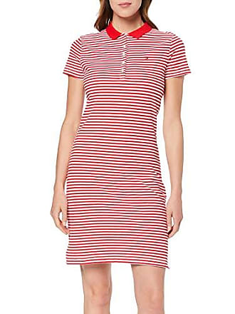 57f5bba749a677 Tommy Hilfiger New Chiara STR PQ Polo Dress SS Vestito, Rosso (Banker Rugby/