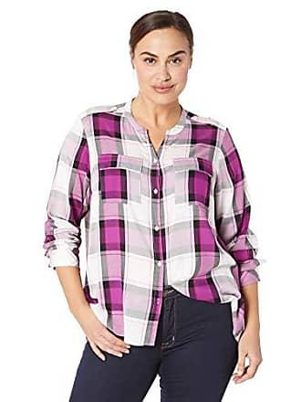 c21e4c49c59bfe Jones New York Womens Plus Size Mix Media Shirttail Hem Blouse, Dark  Magenta Combo,