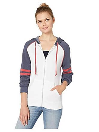 Alternative Mens Rocky Throwback Fleece Zip Hoodie, White, Navy, eco True Red, X-Large