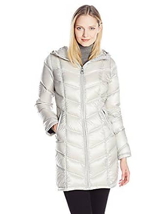 Calvin Klein Womens Mid-Length Packable Chevron Down Coat, Shine Silver, Extra Large
