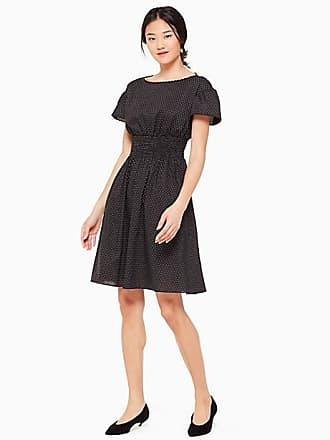 Kate Spade New York Pin Dot Scallop Poplin Dress, Black - Size XS