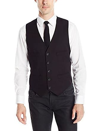 Kenneth Cole Reaction Mens Slim Fit Suit Separate Vest (Blazer, Pant, and Vest), Black, Medium