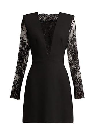 9590680c442e6 Alexander McQueen Alexander Mcqueen - Sarabande Lace And Wool Blend Mini  Dress - Womens - Black