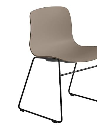 HAY About a Chair AAC 08 Stuhl Gestell schwarz - khaki/Sitzschale Polypropylen/Gestell Stahl schwarz/mit Kunststoffgleitern