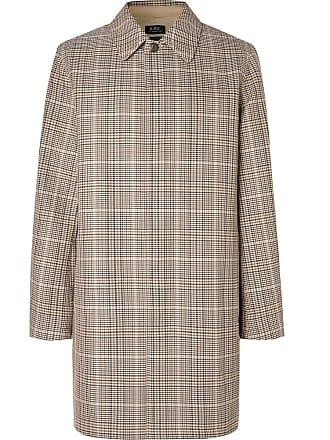 A.P.C. Stefano Checked Cotton-twill Coat - Brown