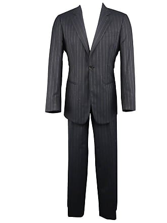 8502dcb2552 Giorgio Armani Mens Giorgio Armani 40 Regular Navy Stripe Wool Single  Button Notch Lapel Suit