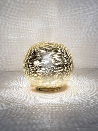 Zenza BALL FILISKY-Lampe à poser Boule Métal Perforé Ø20cm Doré Zenza