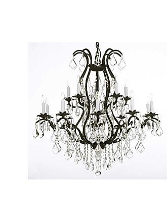 Gallery T40-180 Wrought Iron 15 Light 2 Tier Crystal Candle Style