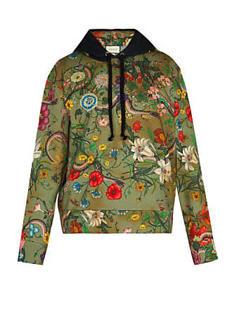 8025d3d114ef59 Gucci Floral Snake Print Cotton Jersey Hooded Sweatshirt - Mens - Green