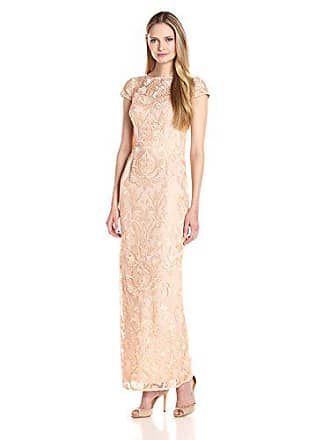 Alex Evenings Womens Cap Sleeve Embroidered Gown Dress (Petite and Regular Sizes), Gold, 10