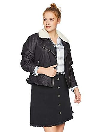 Yoki Womens Plus Size Faux Leather Moto Jacket with Shepra Collar, Black, 2X
