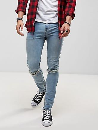 Roadies of 66 superskinny jeans met vintage stone wash en scheuren op de knieën-Blauw