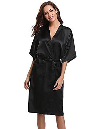 3ba00e418b6630 Aibrou Damen Satin Morgenmantel Kimono Lang Bademantel Schlafanzug Negligee  Nachthemd Nachtwäsche Unterwäsche V Ausschnitt Mit Gürtel