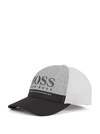 BOSS Rubber-print logo cap in technical melange jersey