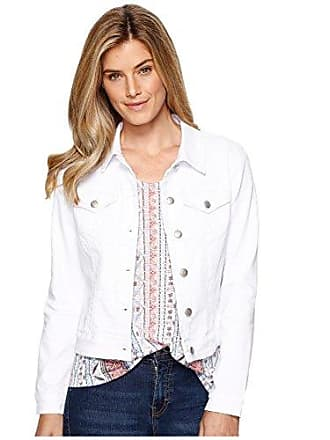 Tribal Womens Colored Basic Jean Jacket, White, XX-Large
