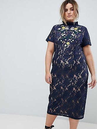 Lovedrobe Midi Pencil Dress With Embroidery - Navy