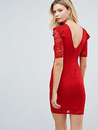 Asos Tall Lace V Back Bodycon Mini Dress With Shoulder Ruffle - Red eb4673d83