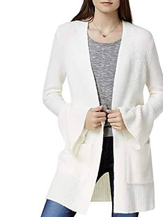 Kensie Womens Warm Touch Open Cardigan with Bell Sleeve, French Vanilla, L