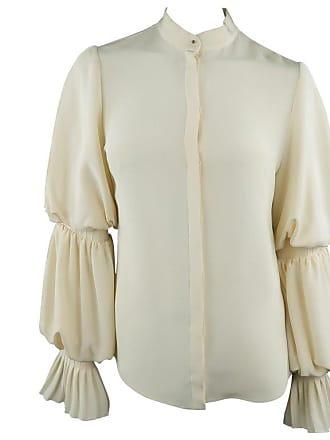 34b0af4e2345d Alexander McQueen Alexander Mcqueen Size 4 Cream Silk Layered Bishop Ruffle  Sleeve Blouse