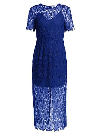 Diane Von Fürstenberg Leaf And Floral Macramé Lace Pencil Dress - Womens - Blue