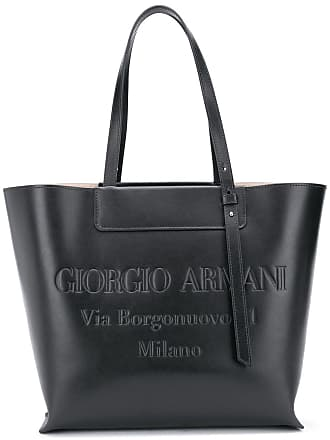 Giorgio Armani embossed logo tote - Preto