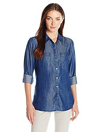 Foxcroft Womens Long Sleeve Denim Tencel Blouse, Navy, 4