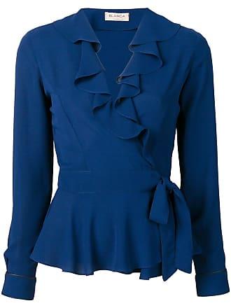 Blanca Blusa transpassada com babados - Azul