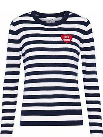 Zoe Karssen Zoe Karssen Woman Appliquéd Striped Cashmere Sweater Midnight Blue Size XS